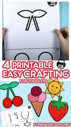We created 4 more of these super simple crafting sheets for coloring, cutting and gluing with big areas to color and thick lines. Perfect for scissor practice and fine motor skills for toddlers and preschoolers. Fun Printables For Kids, Fun Worksheets For Kids, Fun Activities For Toddlers, Printable Crafts, Easy Toddler Crafts, Crafts For Kids To Make, Easy Crafts, Scissor Practice, Scissor Skills