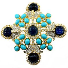 Kenneth Jay Lane Large Blue Resin Crystal & Gold Shield Brooch