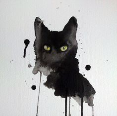 Black cat watercolor