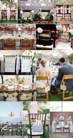Bride and groom chair decor and sweetheart table ideas