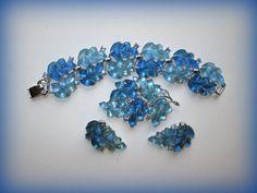 Lisner Blue Jelly Leaves Set Bracelet Brooch by suburbantreasure
