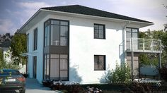 3D Visualisierung einer klassischen aber modernen Stadtvilla. Dieses 3D-Bild kann überall gezeigt werden.