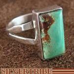 Navajo Native American Kingman Turquoise and Silver Ring