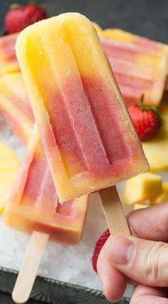 Tropical Mango Pineapple Strawberry Swirled Fruit Pops