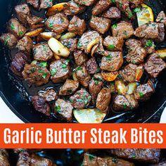 Steak Bites with Garlic Butter Recipe Top Sirloin Recipes, Top Sirloin Steak Recipe, Sirloin Tips, Sirloin Steaks, Beef Recipes, Cooking Recipes, Garlic Butter Steak