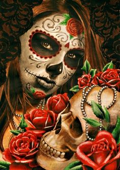 day of the dead woman w flowers skull Nail Art Decorations Health & Beauty Sugar Skull Mädchen, Sugar Skull Makeup, Sugar Skull Tattoos, Day Of The Dead Woman, Day Of The Dead Skull, Katrina Mexicana, Day Of The Dead Artwork, Lowrider Art, Brown Pride