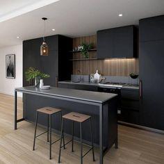 tabourets de bar bois et métal, cuisine gris anthracite et bois avec rangement contemporain