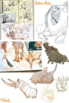Fishink Artwork and Andrew Shek's Animals in motion Animal Sketches, Animal Drawings, Cartoon Drawings, Character Art, Animation Character, Character Sketches, Design Creation, Creature Drawings, Sketchbook Inspiration