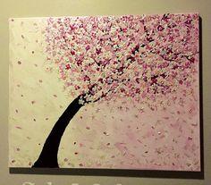ORINGINAL Swarovski cherry blossom acrylic painting crystal