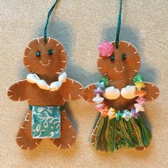 Hawaiian Gingerbread people Christmas ornaments, felt crafts, gingerbread felt girl, woman, man, Hawaii, hula, aloha, luau, tropical, beach, ocean, Polynesian, DIY