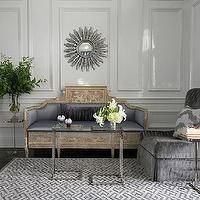 Andrew Howard interior Design - living rooms - wall moldings, decorative wall moldings, silver sunburst mirror,