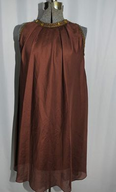 Vintage 60s 70s Trapeze Tent Dress Brown Chiffon Size Small Embellished Neckline #Silhouette  http://www.ebay.com/itm/Vintage-60s-70s-Trapeze-Tent-Dress-Brown-Chiffon-Size-Small-Embellished-Neckline-/221486672459