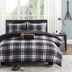 cuddl duds plaid 6-pc. flannel comforter set | newman center