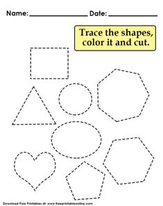 Trace Shapes Color and Cut Preschool Worksheet Free Kindergarten Worksheets, Free Printable Worksheets, Free Printables, Cutting Activities, Preschool Learning Activities, Summer Activities, Tracing Shapes, Shapes Worksheets, Lessons For Kids