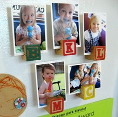 Magnetic vintage letter blocks as photo holders