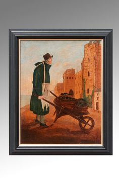 OnlineGalleries.com - A Coal Delivery by Wheelbarrow a 19th Century Oil on Board