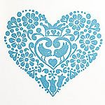 Wooden heart shaped stamp.  Folk style stamp for rustic diy wedding invitations and card making
