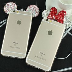 3D Diamond Minnie Mickey Mouse Case For iPhone 6 6S 6 Plus 6S Plus Rhinestone ears Soft Transparent TPU phone Covers Cases Bags #iphone6cases,