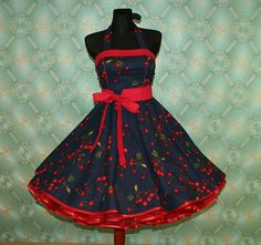 GORGEOUS! 50's vintage dress full skirt navy blue with red cherries Retro dress rare Tailor Made