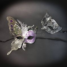 Dream Butterfly, Black and Silver Mask, Phantom Couples Masquerade Mask, Couples Set, Venetian Masquerade Mask with Venetian Details Couples Masquerade Masks, Venetian Masquerade Masks, Silver Mask, Butterfly Mask, Easy Wear, Silk Ribbon, Costume Parties, Brooch, Black Silk