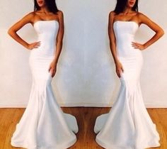 White Prom Dresses,Sexy Evening Dresses,Strapless Prom Gowns,Elegant Prom Dress,Satin Prom Dresses,Simple Evening Gowns,Modest 2016 Formal Dress