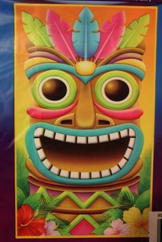 Tiki Mural Wall Door Beach Luau Party Tiki Bar Pool Tropical Decor   eBay