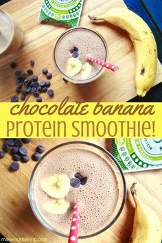 Chocolate Banana Protein Smoothie; a luxuriously thick and creamy banana smoothie with natural cocoa, oats and Pulsin pea protein to fuel your morning!