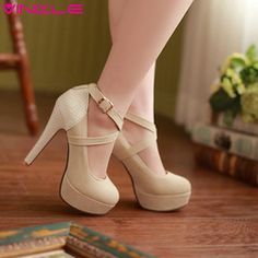 VINLLE 2014 fashion platform pumps sexy high-heeled shoes thin heels round toe platform shoes women's Wedding Shoes size 34-42