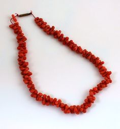 Antique Victorian Bark Salmon Coral Necklace Push Clasp #Unbranded #StrandString