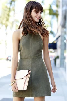 Olive Green Halter Dress