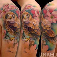 Colorful owl tattoo by Nick Chaboya #colorful #owl #tattoo #tattoos #Inked #ink #InkedMagazine
