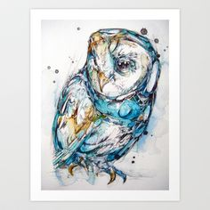 The Sea Glass Owl Art Print by Abby Diamond - $18.72