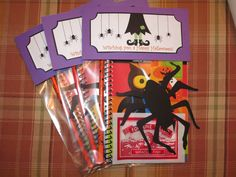 """""""Witching you a Happy Halloween"""" treat bag labels with hanging spider (from Cricut)"""