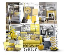 """Yellow and Grey"" by angkclaxton ❤ liked on Polyvore featuring interior, interiors, interior design, home, home decor, interior decorating, Sahco, Crate and Barrel, Seven Gauge Studios and Nearly Natural"