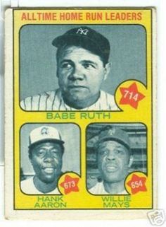 1976 Topps Babe Ruth Baseball Card, Hank Aaron Baseball Card, Willie Mays Baseball Card Ensemble