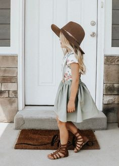 Daphne Pleated Suspender Skirt - Olive - The most beautiful children's fashion products Outfits Niños, Baby Outfits, Toddler Outfits, Cute Kids Outfits, Children Outfits, Toddler Girl Easter Outfit, Baby Dresses, Flower Dresses, Girls Dresses