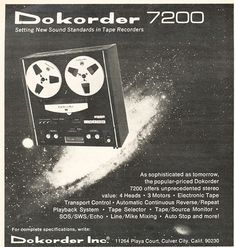 1973 ad for the Dokorder 7200 reel to reel tape recorder in phantom productions' vintage recording collection