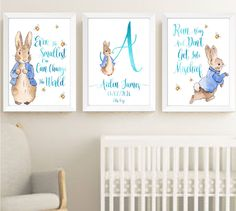 Baby Boy Peter Rabbit Beatrix Potter Nursery Decor Print Set, Bunny Art Prints | eBay
