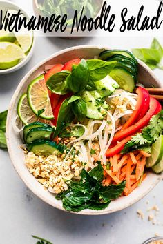 This Vietnamese Noodle Salad features rice noodles dressed in a tangy vietnamese rice vinegar dressing. Serve this vegetarian salad on its own, or top it with a protein like pork, shrimp, or chicken. // cold // dressing // vegetarian // fresh and easy Vermicelli Salad, Vermicelli Recipes, Vietnamese Noodle Salad, Mediterranean Diet Recipes, Grilled Pork, Yummy Eats, Tasty Dishes, Salad Recipes, Food Photography