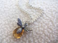 Bee Yourself, Self Love Necklace, Bee Charm, Citrine Yellow Quartz, Healing Stone, Success, Confidence, Happiness, Abundance, Personal Power