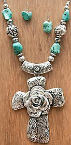M Products® Silver Rose Cross w/ Turquoise Beads Jewelry Set 29569