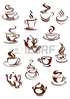 Sketches of hot and fragrant cups of coffee and pots with swirls of steam for beverage, cafe and restaurant design