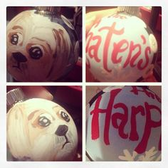 Custom hand-painted glass ornaments.  Send me a pic of your pet and I'll put their sweet face on an ornament.  https://www.facebook.com/RobynsEggBlue