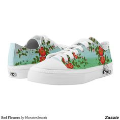 a152ada21c5f7 Red Flowers Printed Shoes Printed Shoes