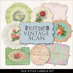 Far Far Hill - Free database of digital illustrations and papers: Freebies Vintage Style Labels Kit