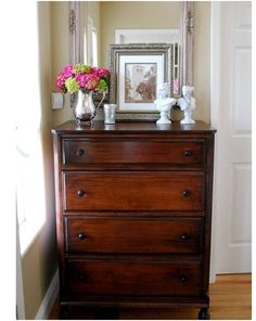 thrift store highboy dresser done - use gel Minwax instead of regular