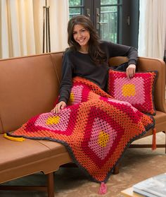Times Square Pillow and Throw Free Crochet Pattern in Red Heart Yarns