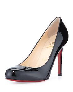 "Christian Louboutin patent leather pump. 4"" covered stiletto heel. Round toe; single sole. Creamy leather lining and insole. Louboutin signature red outsole. ""Simple"" is made in Italy."