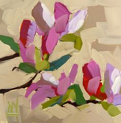 Magnolia Blossoms no. 14 original floral oil painting by Angela Moulton 6 x 6 inch on panel prattcreekart
