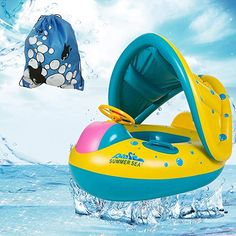 SUNFUNG Inflatable Baby Pool Float Boat with Sun Canopy Swimming Ring And a Cute Storage Bag Review Water Pool Games, Pool Water, Children Swimming Pool, Swimming Pools, Inflatable Baby Pool, Baby Float, Sun Canopy, Pool Toys, Small Backpack